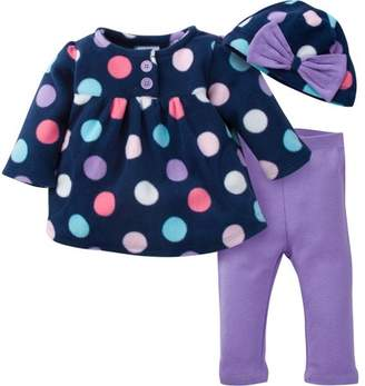 Gerber LLC Newborn Baby Girl Zip Jacket, Pant & Hat 3pc Outfit Set