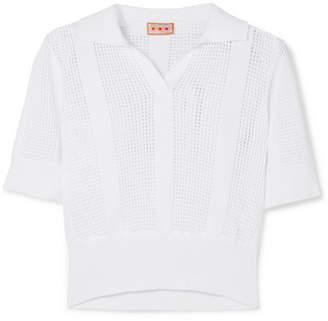 LHD - Le Phare Open-knit Cotton Polo Shirt - White