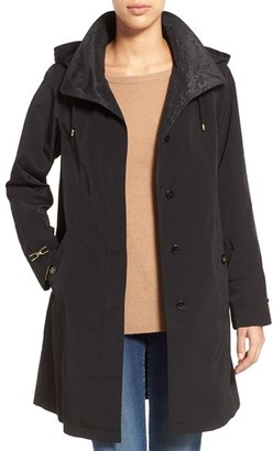 Women's Gallery Two-Tone Silk Look A-Line Raincoat $210 thestylecure.com