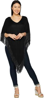 Women With Control Attitudes by Renee Sweater Poncho with Fringe Detail