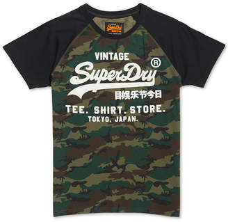 Superdry Men's Shirt Shop Camouflage Logo Graphic Raglan-Sleeve T-Shirt