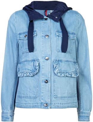 Moncler hooded multi-pocket denim jacket