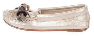 Loeffler Randall Metallic Round-Toe Loafers