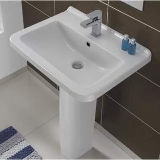 "Bissonnet Erika Vitreous China 22"" Pedestal Bathroom Sink with Overflow Bissonnet"
