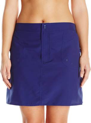 Maxine Of Hollywood Women's Plus-Size Solid Woven Board Skirt Swim Bottom