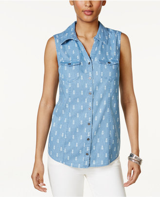 Style & Co Pineapple-Print Denim Shirt, Only at Macy's $46.50 thestylecure.com