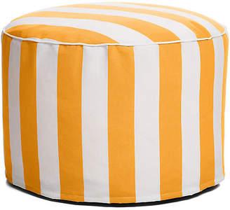 One Kings Lane Cabana Stripe Outdoor Ottoman - Yellow/White