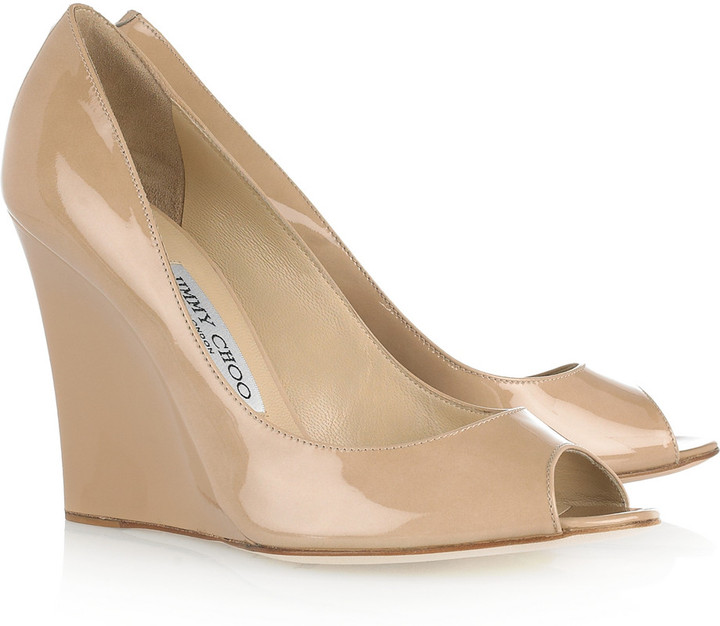 Jimmy Choo Bello patent-leather wedges
