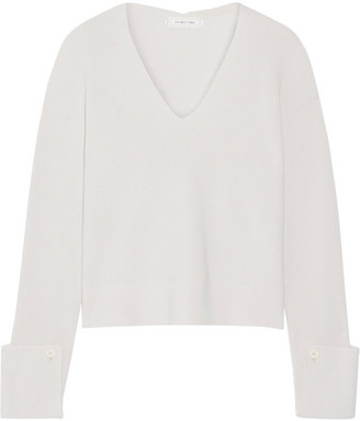Helmut Lang - Cotton, Wool And Cashmere-blend Sweater - Stone $395 thestylecure.com