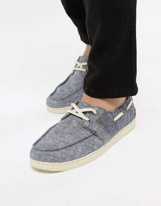 Toms Chambray Boat Shoes In Navy