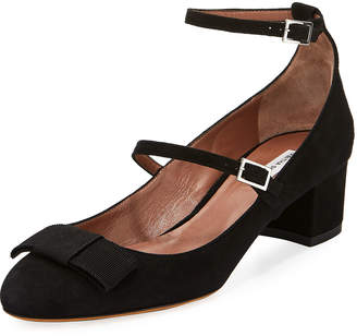 Tabitha Simmons Rubia Suede Double-Buckle Pumps, Black