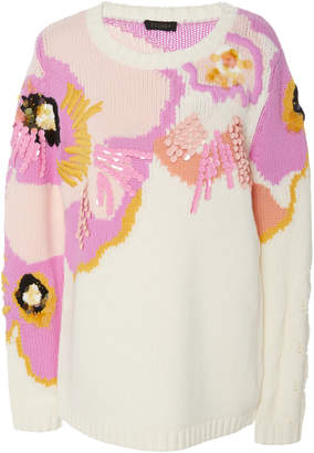 Escada Stuns Virgin Wool Floral Woven Sweater