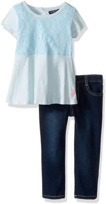 U.S. Polo Assn. Little Girls' Short Sleeve Peplum Top and Stretch Denim Jean