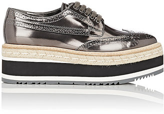 Prada Women's Leather Platform Espadrille Wingtip Oxfords-DARK GREY $1,100 thestylecure.com