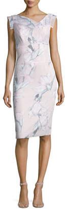 Black Halo Jackie Floral Mesh Sheath Dress, Pink/Multicolor