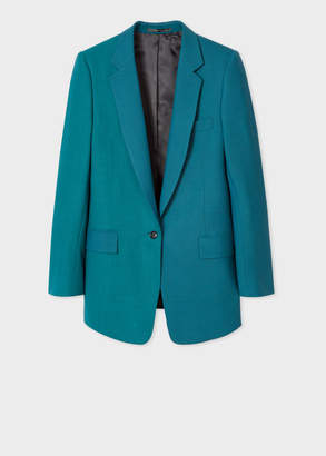 Paul Smith Women's Teal Houndstooth And Check One-Button Wool Boyfriend-Fit Blazer