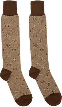 Gucci Brown GG Socks