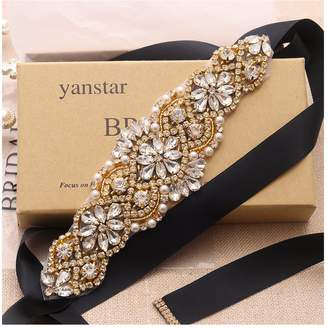 Yanstar Wedding Bridal Belts Black Sashes Handmade Rose Gold Rhinestone Beads Belt For Bridal Bridesmaid Dresses