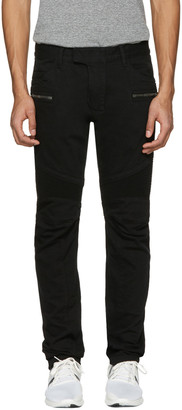 Balmain Black Biker Rib Jeans $1,275 thestylecure.com