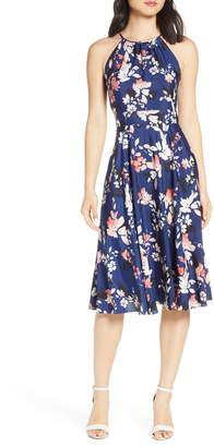 Eliza J Floral Halter Crepe de Chine Midi Dress