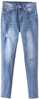 Goodnight Macaroon 'Karey' Light Washed Distressed Jeans