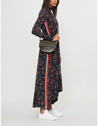 E.m. ME AND Striped-detail floral-print woven dress