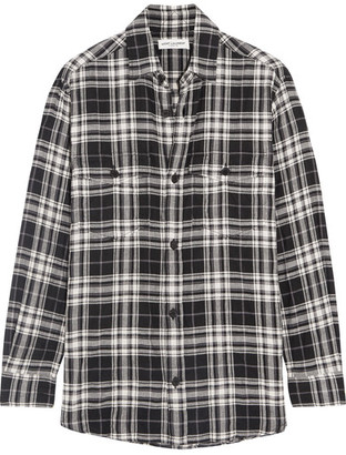 Saint Laurent - Plaid Brushed Stretch-cotton Shirt - Black $690 thestylecure.com