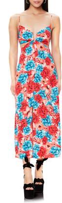 AFRM Koa Notch Neck Cutout Print Midi Dress