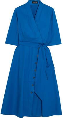 Saloni - Mae-b Wrap-effect Cotton-blend Poplin Midi Dress - Blue $470 thestylecure.com