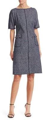 Teri Jon by Rickie Freeman Tweed Pearl-Trimmed A-Line Dress