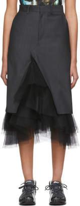 Junya Watanabe Grey Chambray Stripe Skirt
