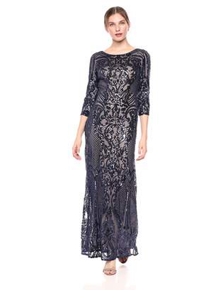 0ec1d0784b30 Alex Evenings Women's Long V-Neck Fit and Flare Dress Lace, Navy/Nude