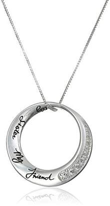 "Sterling Cubic Zirconia ""My Sister My Friend"" Pendant Necklace"