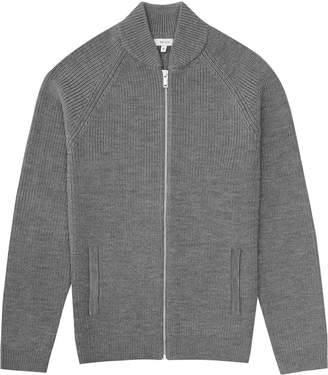 Reiss Typhoon - Ribbed Cardigan in Grey