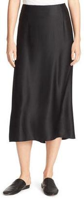 Vince Silk-Satin Bias-Cut Midi-Length Slip Skirt, Black $275 thestylecure.com