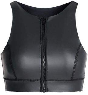 Zip-Detailed Neoprene Bikini Top