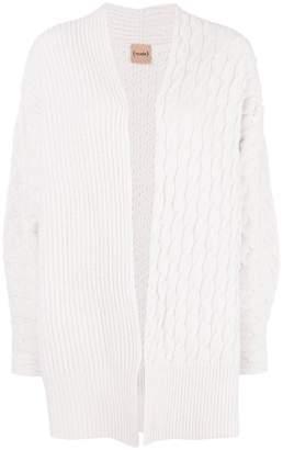 Nude knitted midi cardigan