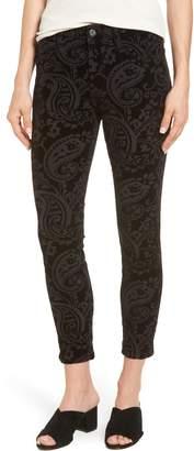 Jen7 Paisley Velvet Ankle Skinny Jeans