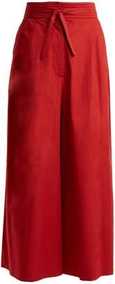 Isa Arfen Tie-waist wide-leg cotton cropped trousers