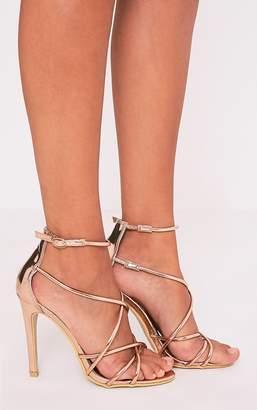 PrettyLittleThing Duaya Rose Gold Metallic Multi Strap Heeled Sandals