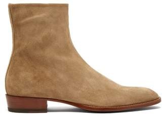 Saint Laurent Wyatt Suede Ankle Boots - Mens - Beige
