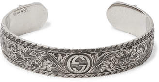 Gucci Engraved Sterling Silver Cuff - Men - Silver