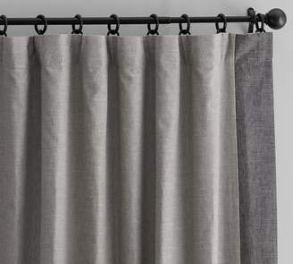 Pottery Barn Emery Linen Framed Border Drape - Gray/Charcoal