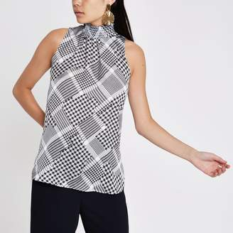 River Island Womens Black print shirred high neck sleeveless top