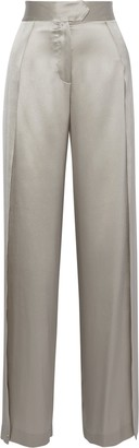 Mason by Michelle Mason Split-side Silk-charmeuse Wide-leg Pants