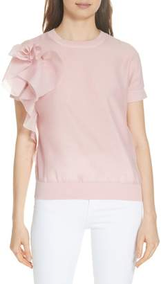 Ted Baker Anabane Asymmetrical Ruffle Silk Cotton Top