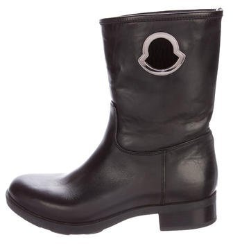 Moncler Moncler Leather Round-Toe Boots