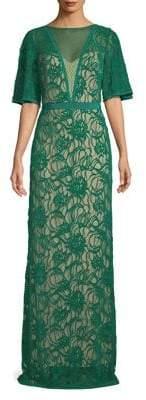 Tadashi Shoji Lace Floral Floor-Length Gown