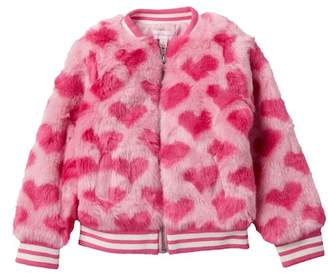 Design History Faux Fur Heart Bomber Jacket (Little Girls)