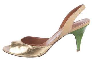 Lanvin Metallic Slingback Sandals